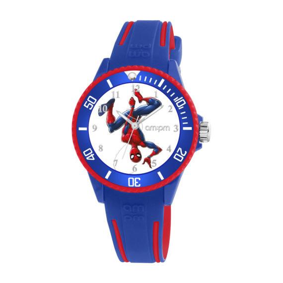 AM PM Marvel Spiderman Blue Rubber Strap Kids' Watch MP187 U627