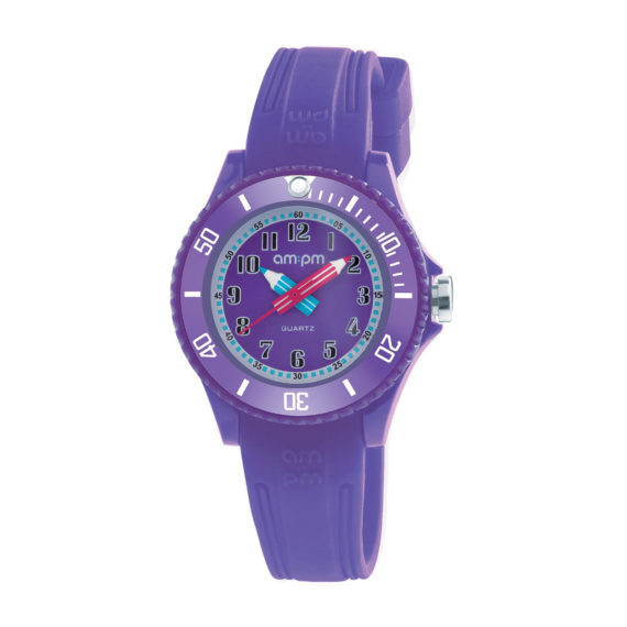 AM PM Purple Rubber Strap Kids' Watch PM192 K520