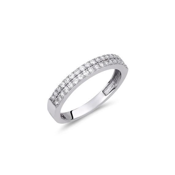 Δαχτυλίδι Μισόβερο Λευκόχρυσο 14Κ 003162 Jewelor
