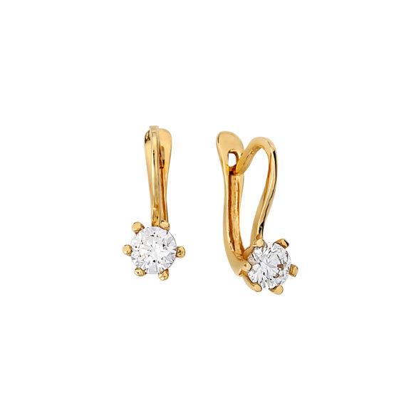 Καρφωτά Σκουλαρίκια Χρυσά Με Ζιργκόν 14Κ 003155 Jewelor