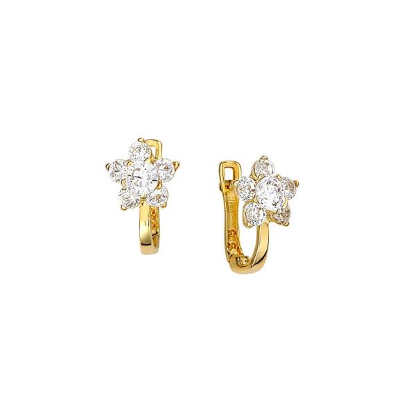 Καρφωτά Σκουλαρίκια Λουλούδια Χρυσά Με Ζιργκόν 14Κ 003156 Jewelor