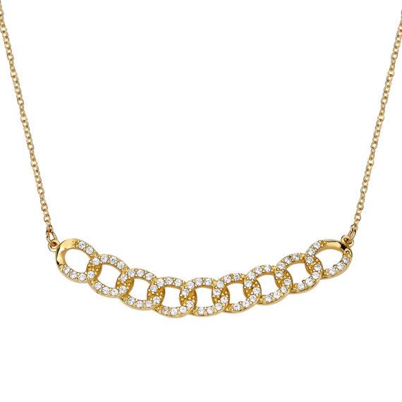Κρεμαστό Αλυσίδα Χρυσό Με Ζιργκόν 14Κ 003158 Jewelor