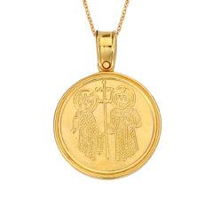 Κρεμαστό Ιησούς Χριστός Χρυσό Ματ Διπλής Όψης 14Κ 003157 2 Jewelor
