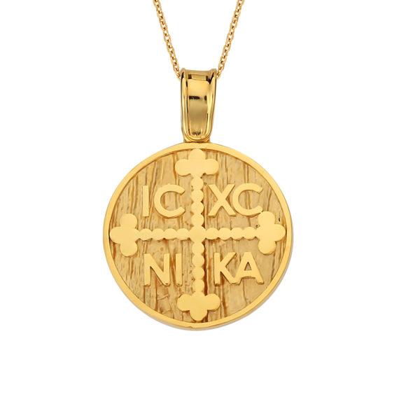 Κρεμαστό Ιησούς Χριστός Χρυσό Ματ Διπλής Όψης 14Κ 003157 Jewelor