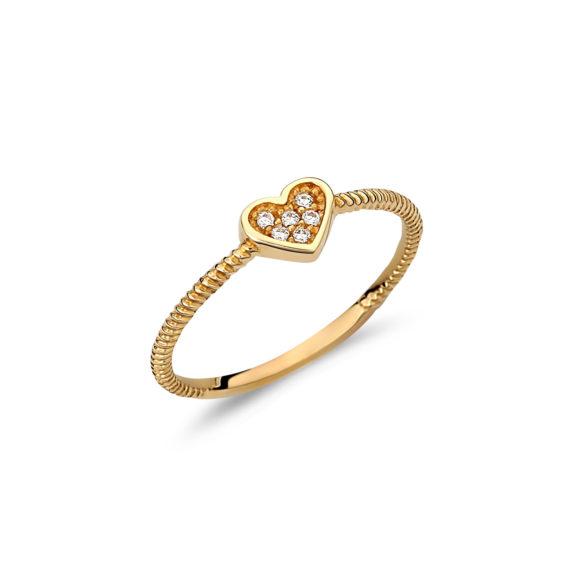 Μονόπετρο Καρδιά Χρυσό Σφυρήλατο Με Ζιργκόν 14Κ 003153 Jewelor