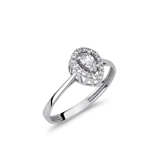 Μονόπετρο Λευκόχρυσο Διάτρητο Με Ζιργκόν 14Κ 003148 Jewelor