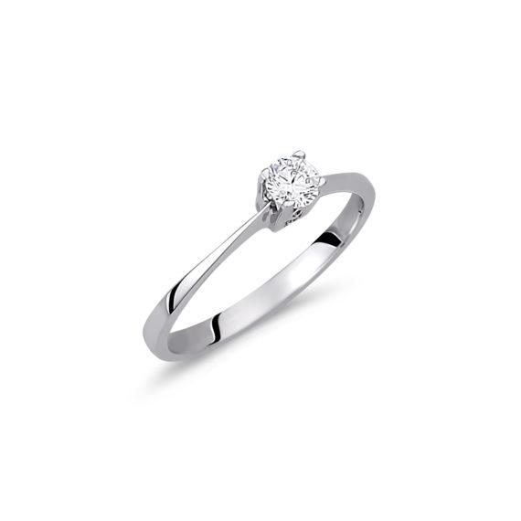 Μονόπετρο Λευκόχρυσο Με Ζιργκόν 14Κ 003151 Jewelor