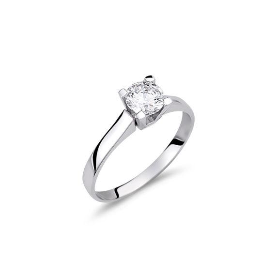 Μονόπετρο Λευκόχρυσο Με Ζιργκόν 14Κ 003154 Jewelor
