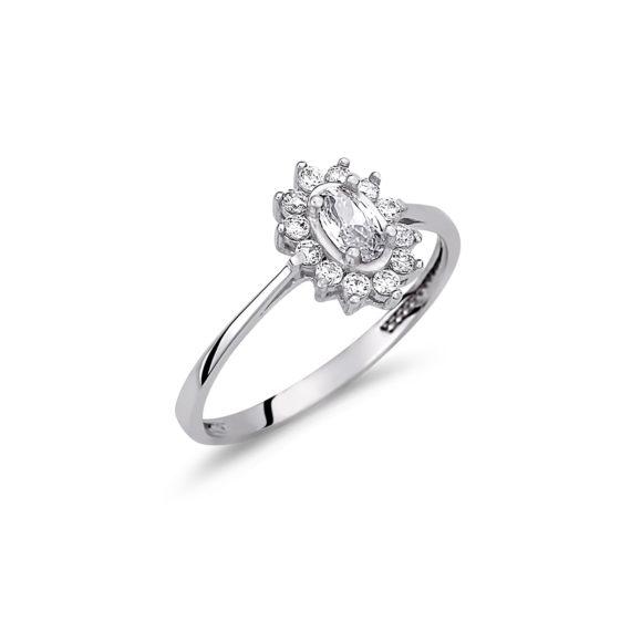 Μονόπετρο Ροζέτα Λευκόχρυσο Με Ζιργκόν 14Κ 003150 Jewelor