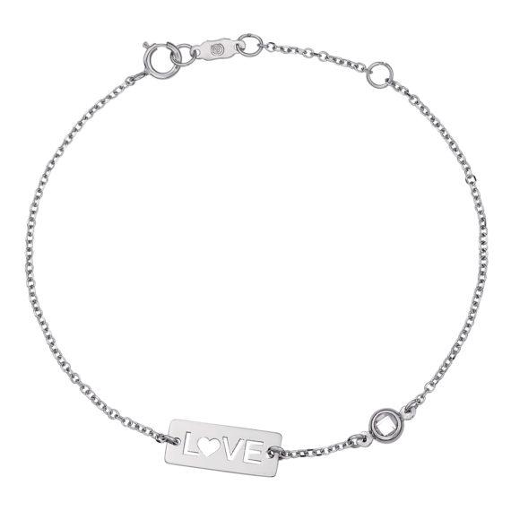 Βραχιόλι Αλυσίδα Love Λευκόχρυσο Διάτρητο Με Ζιργκόν 14Κ 003149 Jewelor