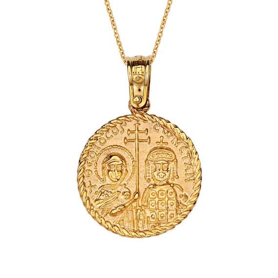 Κωνσταντινάτο Φυλαχτό Ιησούς Χριστός Ανάγλυφο Χρυσό Διπλής Όψης 14Κ 003170 2 Jewelor