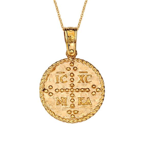 Κωνσταντινάτο Φυλαχτό Ιησούς Χριστός Ανάγλυφο Χρυσό Διπλής Όψης 14Κ 003170 Jewelor