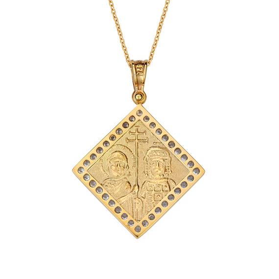 Κωνσταντινάτο Φυλαχτό Ιησούς Χριστός Ανάγλυφο Χρυσό Διπλής Όψης Με Ζιργκόν 14Κ 003173 2 Jewelor