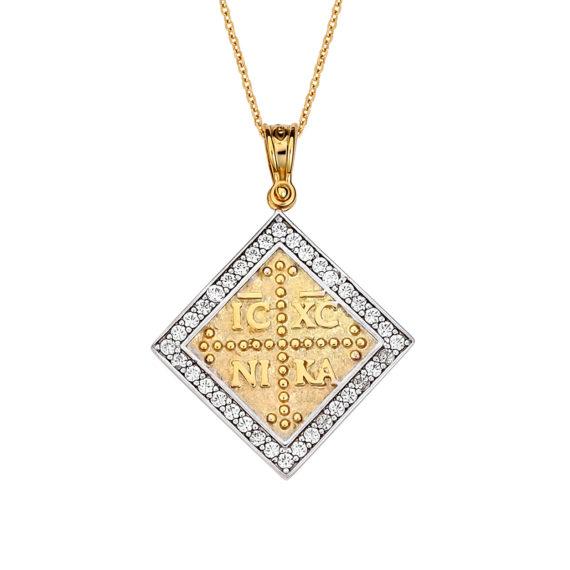 Κωνσταντινάτο Φυλαχτό Ιησούς Χριστός Ανάγλυφο Χρυσό Διπλής Όψης Με Ζιργκόν 14Κ 003173 Jewelor