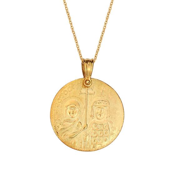 Κωνσταντινάτο Φυλαχτό Ιησούς Χριστός Ματ Ανάγλυφο Χρυσό Διπλής Όψης 14Κ 003169 2 Jewelor