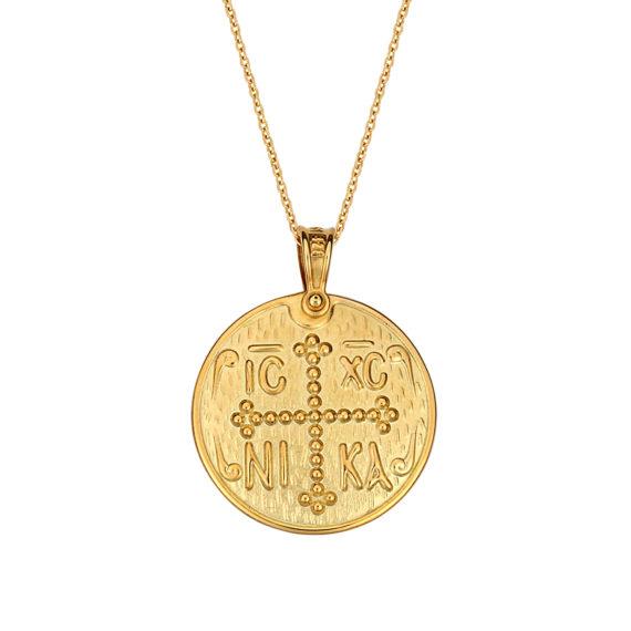 Κωνσταντινάτο Φυλαχτό Ιησούς Χριστός Ματ Ανάγλυφο Χρυσό Διπλής Όψης 14Κ 003169 Jewelor
