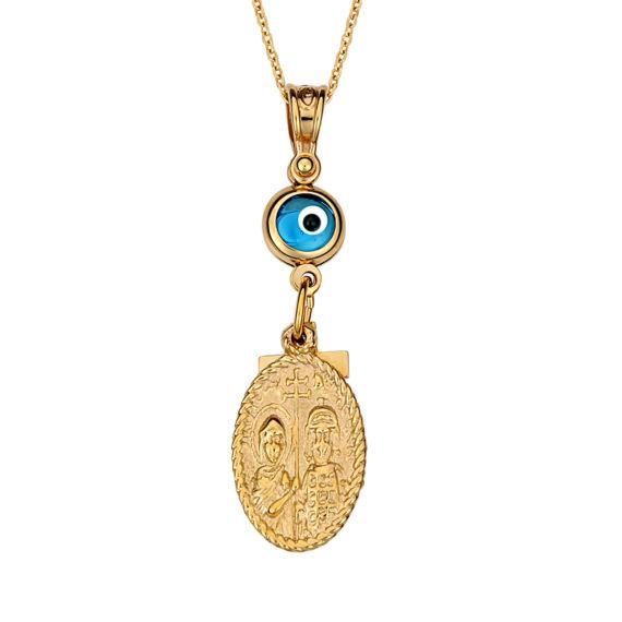Κωνσταντινάτο Φυλαχτό Ιησούς Χριστός Ματ Και Γυαλιστερό Ανάγλυφο Χρυσό Διπλής Όψης Με Σταυρουδάκι Και Ματάκι 14Κ 003171 2 Jewelor