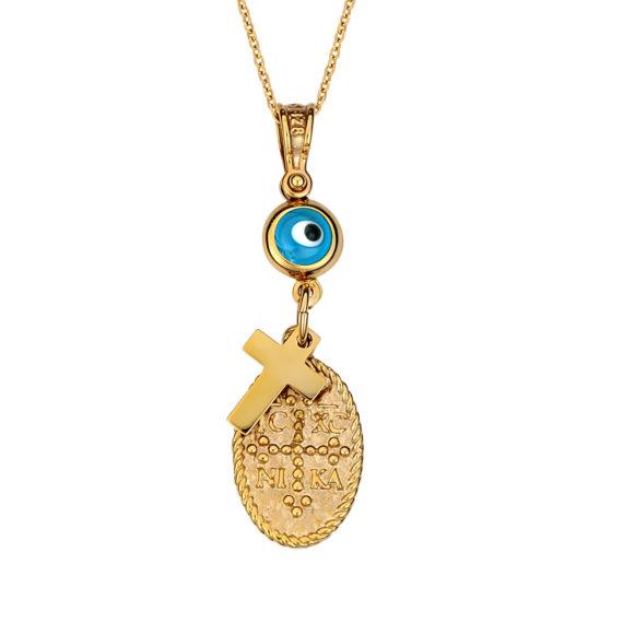 Κωνσταντινάτο Φυλαχτό Ιησούς Χριστός Ματ Και Γυαλιστερό Ανάγλυφο Χρυσό Διπλής Όψης Με Σταυρουδάκι Και Ματάκι 14Κ 003171 Jewelor
