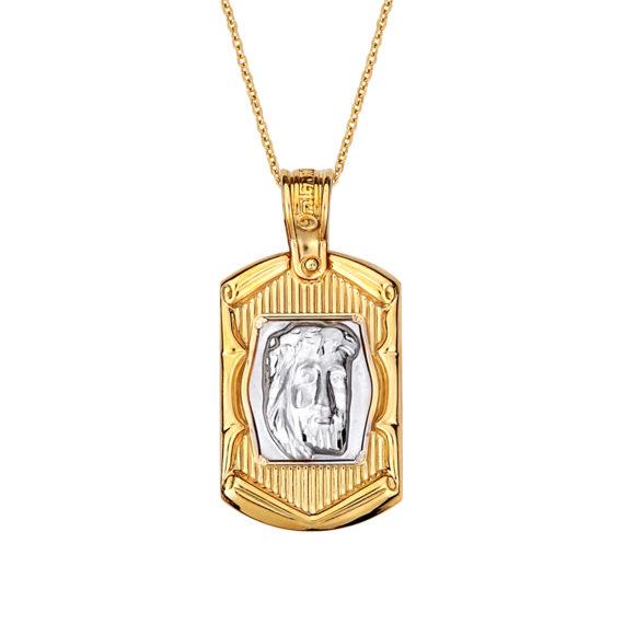 Κρεμαστό Κορνίζα Ιησούς Χριστός Δίχρωμος Χρυσός Ανάγλυφο 14 Κ 003168 Jewelor