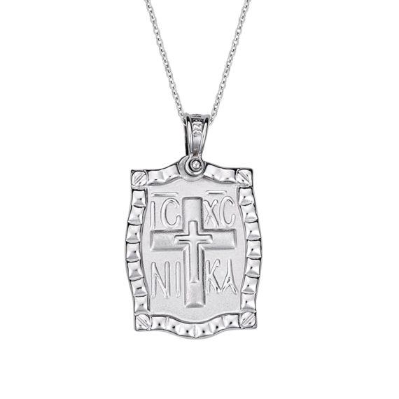 Κρεμαστό Κορνίζα Ιησούς Χριστός Δίχρωμος Χρυσός Ανάγλυφο Διπλής Όψης 14 Κ 003167 2 Jewelor