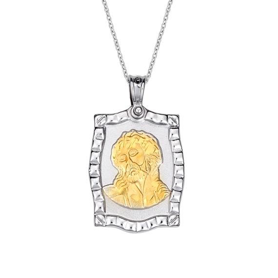 Κρεμαστό Κορνίζα Ιησούς Χριστός Δίχρωμος Χρυσός Ανάγλυφο Διπλής Όψης 14 Κ 003167 Jewelor