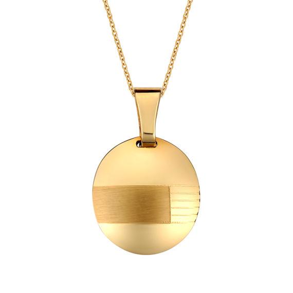 Κρεμαστό Οβάλ Χρυσό Ματ Και Γυαλιστερό 14Κ 003185 Jewelor