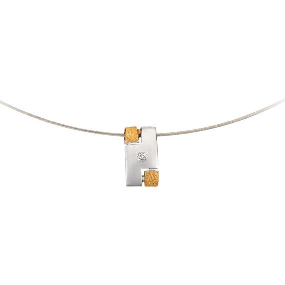 Μοντέρνο Κολιέ Ανάγλυφο Ατσάλι Και Λευκόχρυσος Με Διαμάντι 14Κ 003190 2 Jewelor