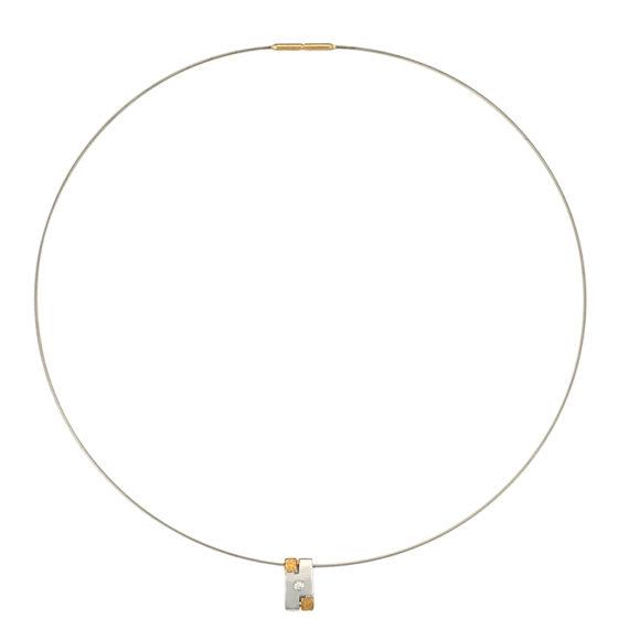 Μοντέρνο Κολιέ Ανάγλυφο Ατσάλι Και Λευκόχρυσος Με Διαμάντι 14Κ 003190 Jewelor