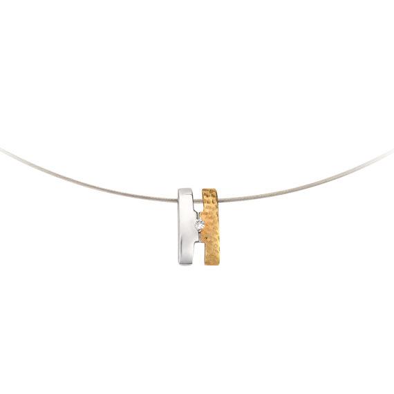 Μοντέρνο Κολιέ Ανάγλυφο Ατσάλι Και Ζιργκόν 14Κ 003191 2 Jewelor