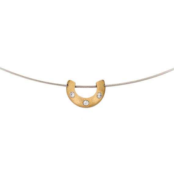 Μοντέρνο Κολιέ Ανάγλυφο Ατσάλι Και Ζιργκόν 14Κ 003192 2 Jewelor