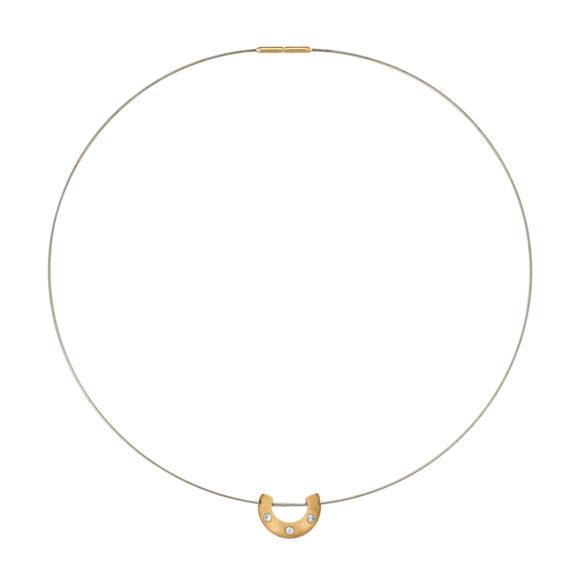 Μοντέρνο Κολιέ Ανάγλυφο Ατσάλι Και Ζιργκόν 14Κ 003192 Jewelor