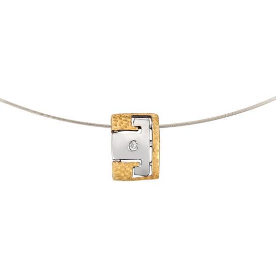 Μοντέρνο Κολιέ Ανάγλυφο Ατσάλι Και Ζιργκόν 14Κ 003193 2 Jewelor