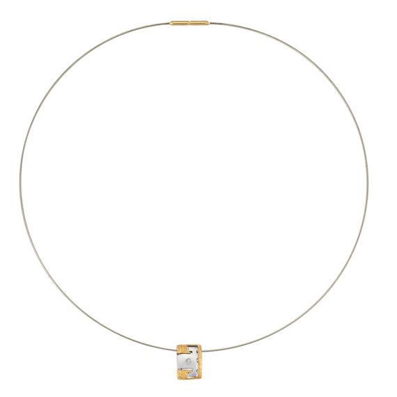 Μοντέρνο Κολιέ Ανάγλυφο Ατσάλι Και Ζιργκόν 14Κ 003193 Jewelor