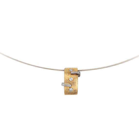 Μοντέρνο Κολιέ Ατσάλι, Ματ Χρυσός Και Ζιργκόν 14Κ 003189 2 Jewelor