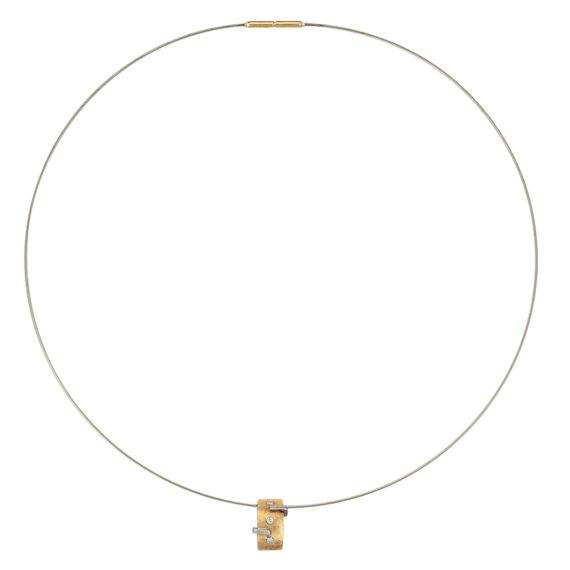 Μοντέρνο Κολιέ Ατσάλι, Ματ Χρυσός Και Ζιργκόν 14Κ 003189 Jewelor