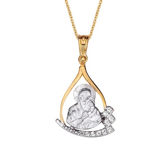 Μοντέρνο Κρεμαστό Παναγία Δίχρωμος Χρυσός Με Ζιργκόν 14Κ 003164 Jewelor