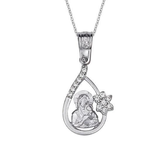 Μοντέρνο Κρεμαστό Παναγία Λευκόχρυσος Με Ζιργκόν14Κ 003166 Jewelor