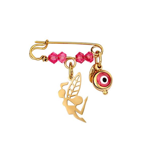 Παραμάνα Νεράιδα Ανάγλυφη Χρυσή Με Σμάλτο 14Κ 003182 Jewelor