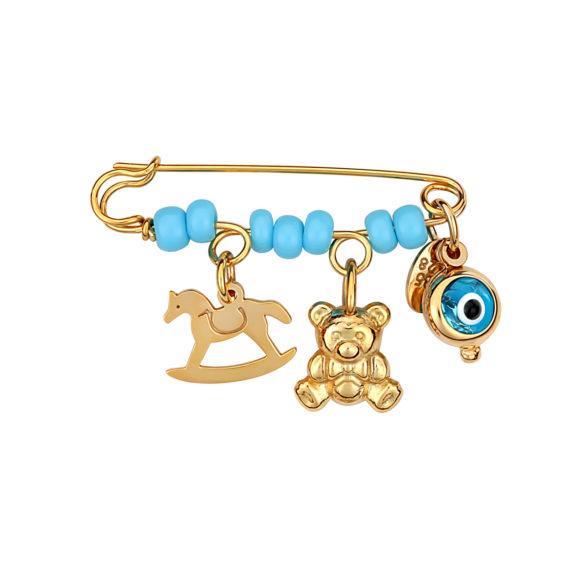 Παραμάνα Παιχνίδια Ανάγλυφη Χρυσή Με Σμάλτο 14Κ 003181 Jewelor