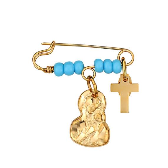 Παραμάνα Παναγία Ανάγλυφη Χρυσή Με Σμάλτο 14Κ 003178 Jewelor