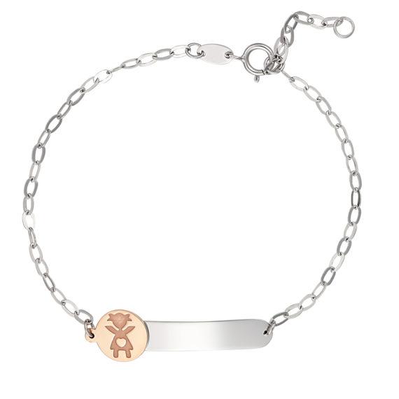Βραχιόλι Αλυσίδα Με Κοριτσάκι Λευκόχρυσο Και Ροζ Χρυσό 14Κ 003177 Jewelor