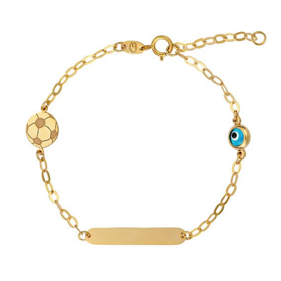 Βραχιόλι Αλυσίδα Με Ματάκι Και Μπαλίτσα Χρυσό 14Κ 003174 Jewelor