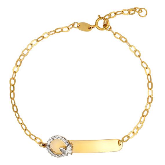 Βραχιόλι Αλυσίδα Με Ματάκι, Πεταλούδα Και Ζιργκόν Χρυσό 14Κ 003176 Jewelor