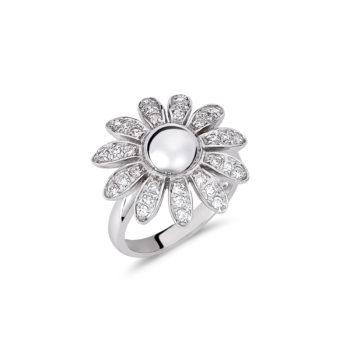 Δαχτυλίδι-Λουλούδι Λευκόχρυσο Με Ζιργκόν 14Κ