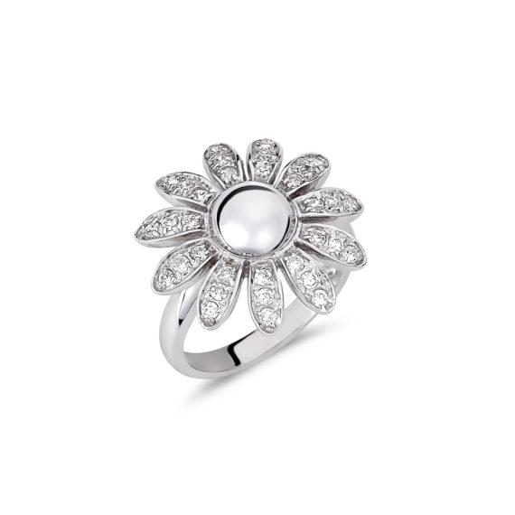 Δαχτυλίδι Λουλούδι Λευκόχρυσο Με Ζιργκόν 14Κ 003196 Jewelor