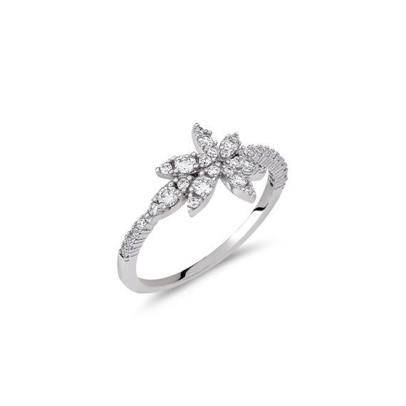 Δαχτυλίδι Λουλούδι Μισόβερο Λευκόχρυσο Με Ζιργκόν 14Κ 003197 Jewelor