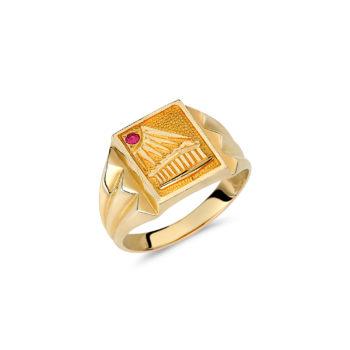 Δαχτυλίδι Παρθενώνας Χρυσό Με Ρουμπίνι 14K