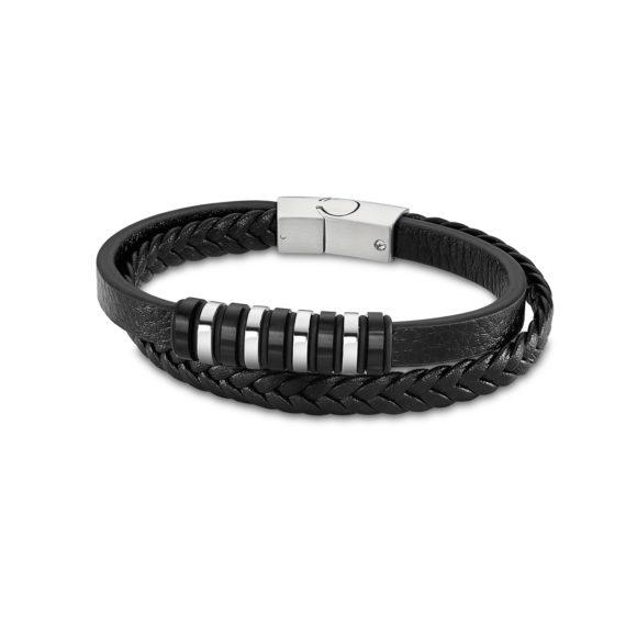 Διπλό Βραχιόλι Lotus Style Δίχρωμο Δέρμα Και Ατσάλι LS2102 2 1 Jewelor