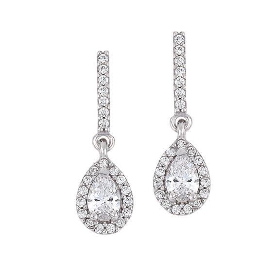 Κλασικά Κρεμαστά Σκουλαρίκια Λευκόχρυσα Με Ζιργκόν 003226 Jewelor