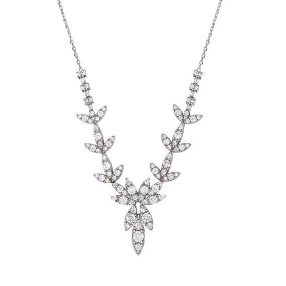 Κρεμαστό Φύλλα Λευκόχρυσο Με Ζιργκόν 14Κ 003206 Jewelor